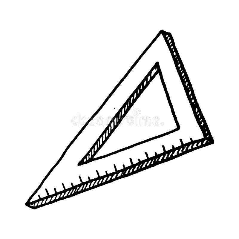 Hand Drawn triangular ruler doodle. Sketch style icon. Decoration element. Isolated on white background. Flat design. Vector vector illustration