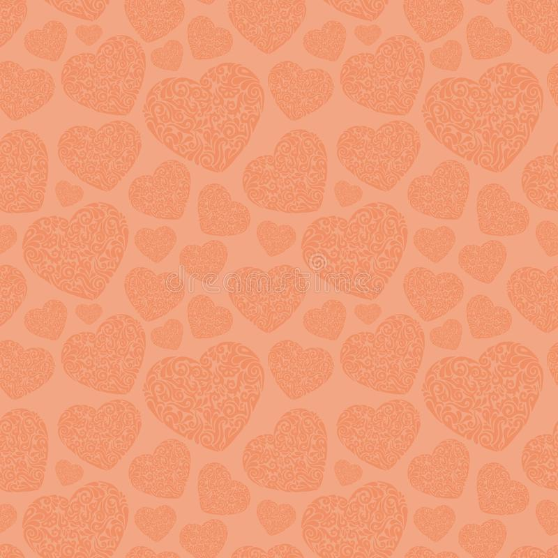 Hand drawn tribal heart seamless pattern. Endless pattern backdrop vector illustration. Hand drawn tribal heart seamless pattern for fabric, textile, cloth royalty free stock photo