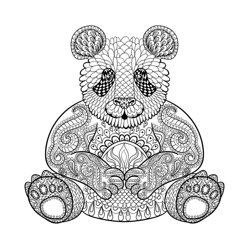 Download Hand Drawn Tribal Panda, Animal Totem For Adult Coloring Page Stock Vector - Image: 60163057