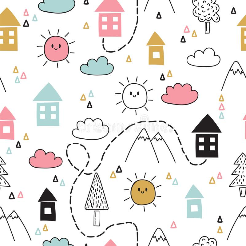 Hand drawn tribal seamless pattern with cartoon houses, trees and mountains. Creative ethnic scandinavian woodland background. Abs royalty free illustration