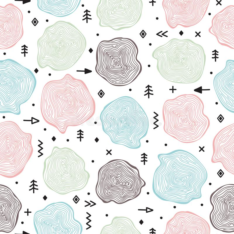 Hand drawn tribal seamless pattern of wood cuts. Circle tree background. Tree rings. Trendy design elements stock illustration