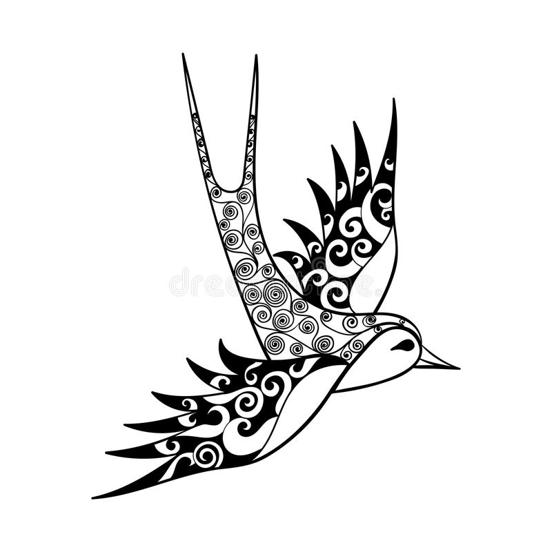 Free Hand Drawn Tribal Swallow, Bird Totem For Adult Coloring Page Or Royalty Free Stock Images - 61159709