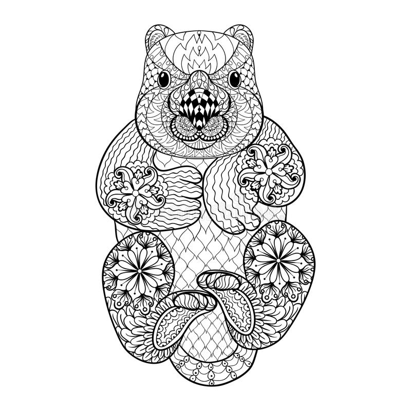 Hand drawn tribal Wombat, animal totem for adult Coloring vector illustration