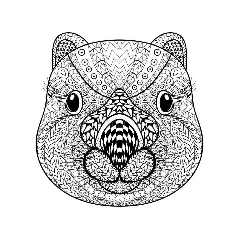 Hand Drawn Tribal Wombat Face Animal Totem For Adult