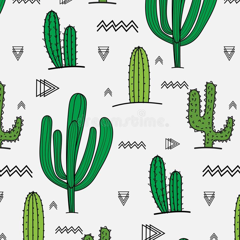 Hand Drawn Tropical Cactus Pattern. royalty free illustration