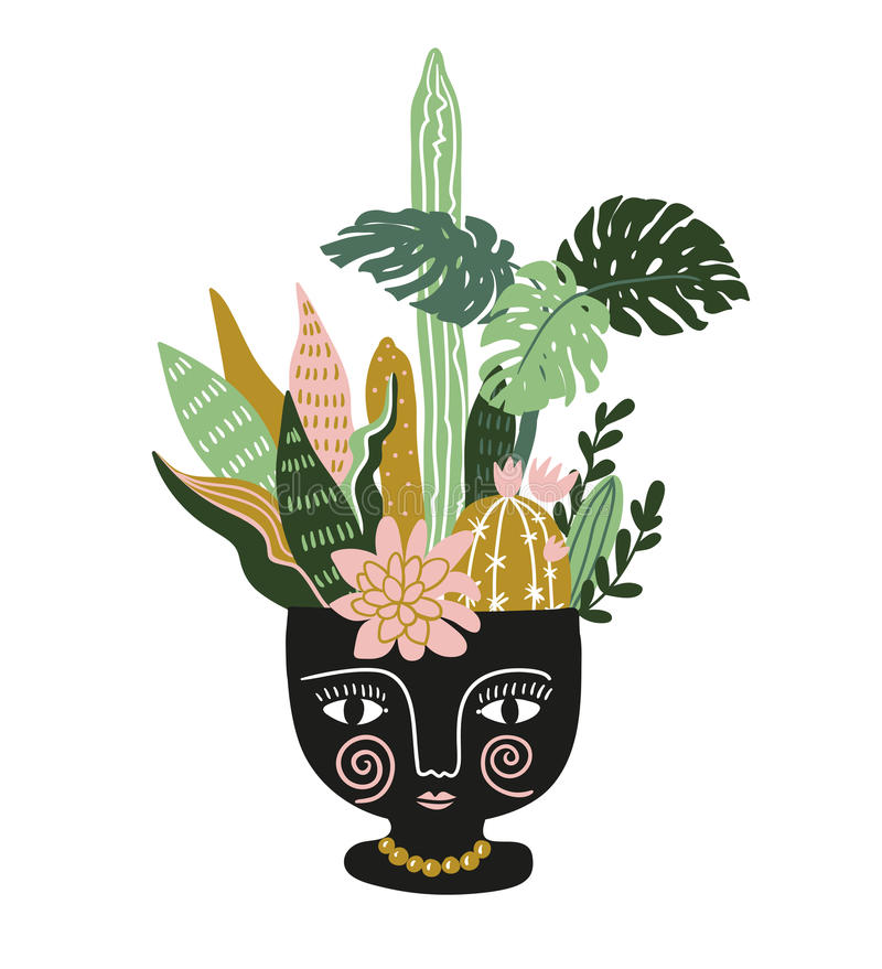Hand drawn tropical house plants in the ethnic ceramic pot. Scandinavian style vector illustration. Hand drawn tropical house plants in the ethnic ceramic pot royalty free illustration