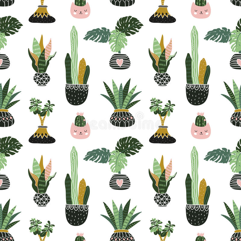 Free Hand Drawn Tropical House Plants. Scandinavian Style Illustration, Vector Seamless Pattern For Fabric, Wallpaper Or Wrap Paper. Stock Photography - 85943442