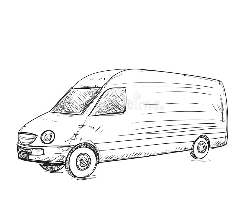 Hand drawn truck stock vector. Illustration of service - 72927696