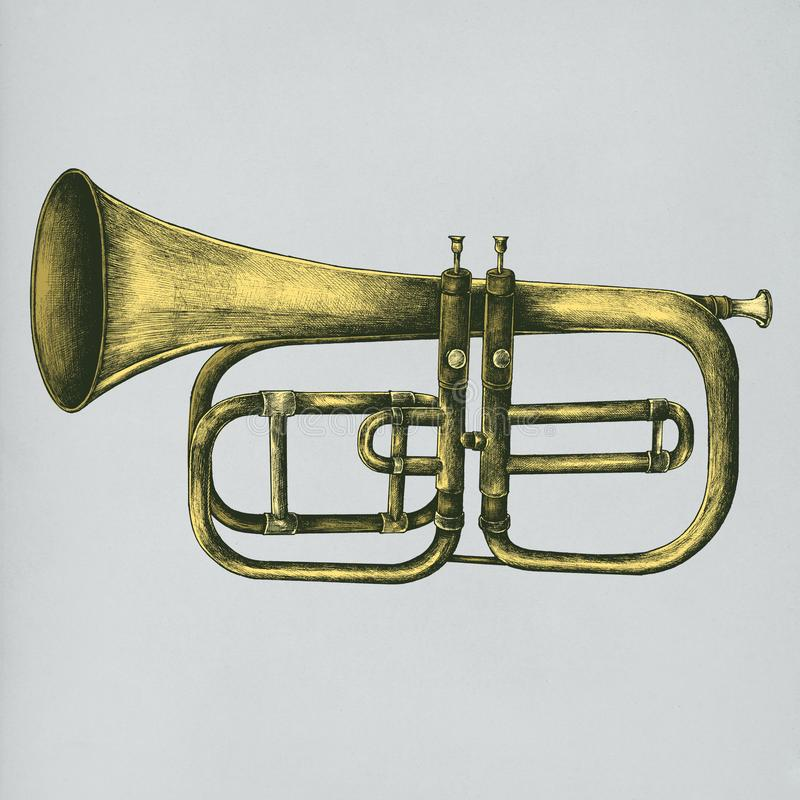 Hand drawn trumpet isolated on background stock image