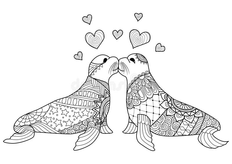 Hand drawn two seals kissing each other for coloring book for adult vector illustration