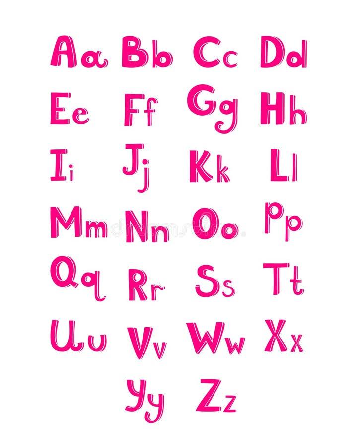 Download Hand Drawn Type Font Pink Children Alphabet Stock Vector