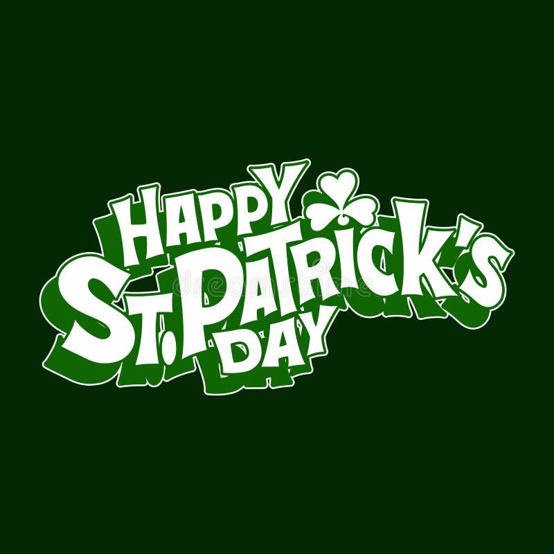 Hand-drawn typographic design lettering with shamrock for St.Patrick`s Day. Irish celebration design. Beer festival lettering typography icon. Vector stock illustration