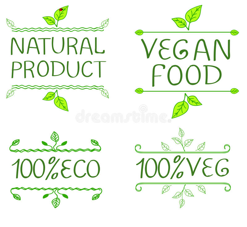 Hand-drawn typographic elements for design. Natural products and vegan food labels. stock illustration