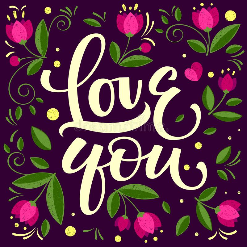 Hand drawn typographic inscription, lettering design Love you vector illustration