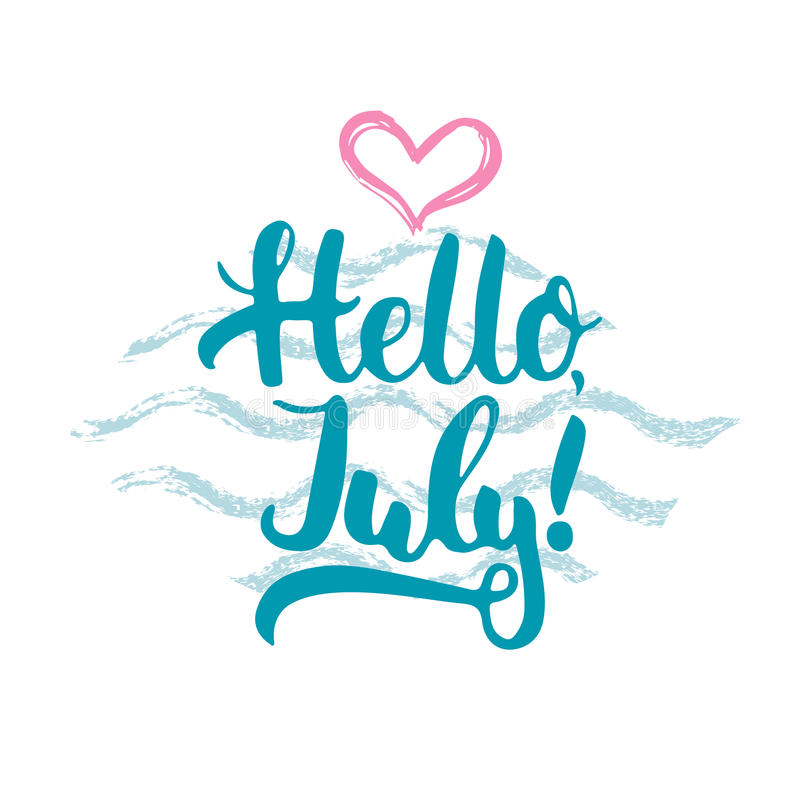 Hand drawn typography lettering phrase Hello, july with heart and waves on the white background. Fun. Calligraphy for typography greeting and invitation card or royalty free illustration
