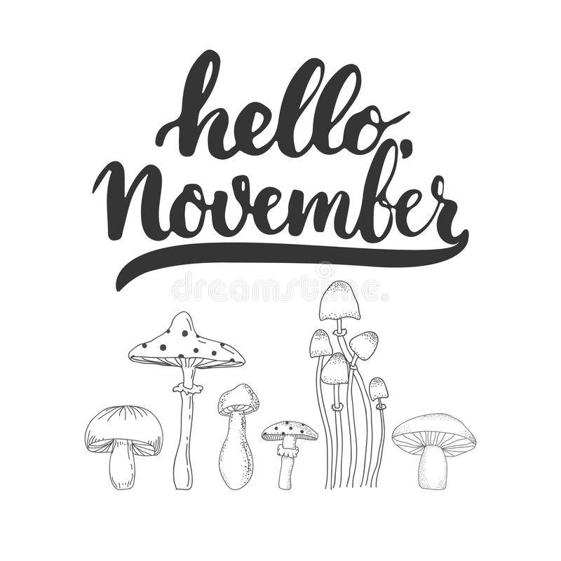 Download Hand Drawn Typography Lettering Phrase Hello, November Isolated On  The White Background. Fun