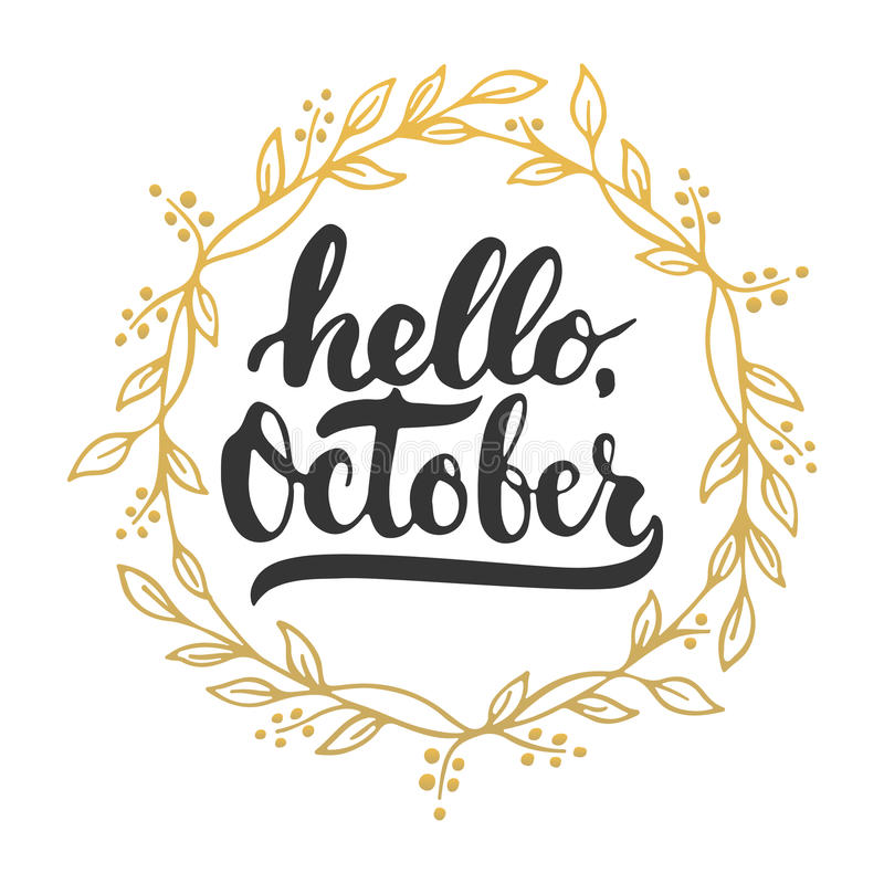 Hello October Vector Illustration Design Background Stock Vector ...