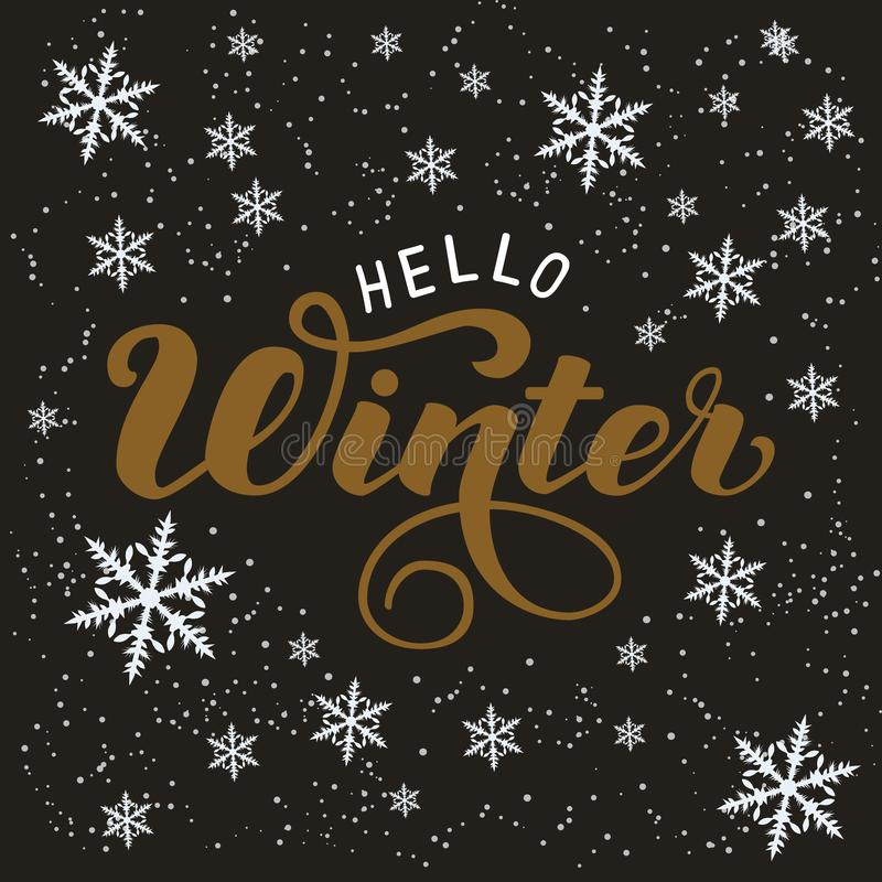 Hand drawn typography lettering phrase Hello Winter isolated on the dark background royalty free illustration