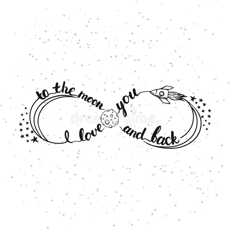 Hand Drawn Typography Lettering Phrase I Love You To The Moon And