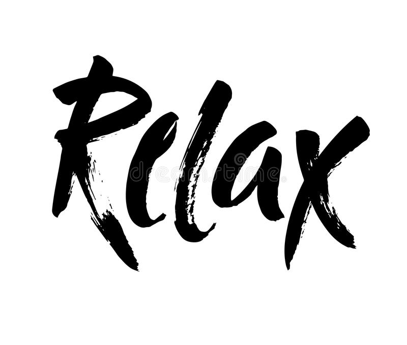 Hand drawn typography lettering phrase Relax isolated on the white background. Fun calligraphy for greeting card. Hand drawn typography lettering phrase Relax vector illustration