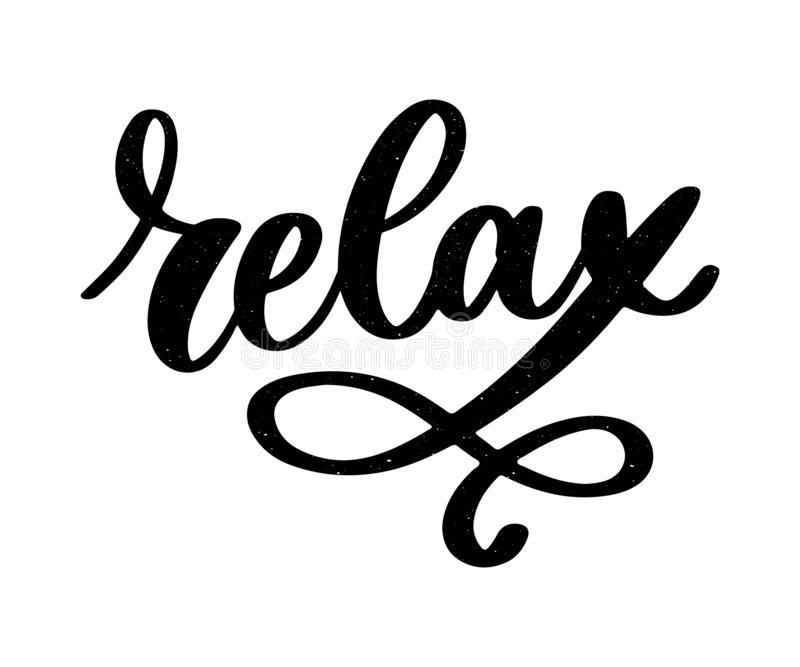 Hand drawn typography lettering phrase Relax isolated on the white background. Fun calligraphy for greeting and invitation card or. T-shirt print design, quote stock illustration