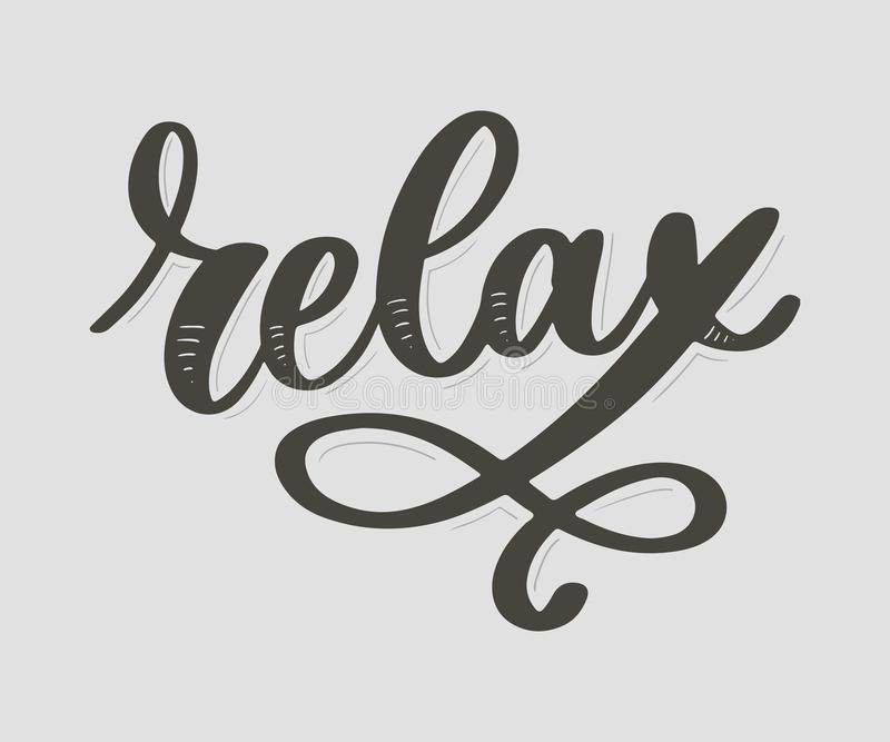 Hand drawn typography lettering phrase Relax isolated on the white background. Fun calligraphy for greeting and invitation card or. T-shirt print design, quote vector illustration