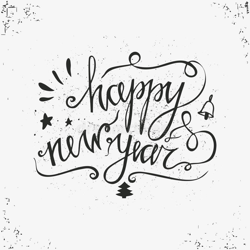 Hand drawn typography poster. Happy Holidays greetings hand-lettering inscription - Happy New Year isolated on white background. Hand drawn typography poster stock illustration