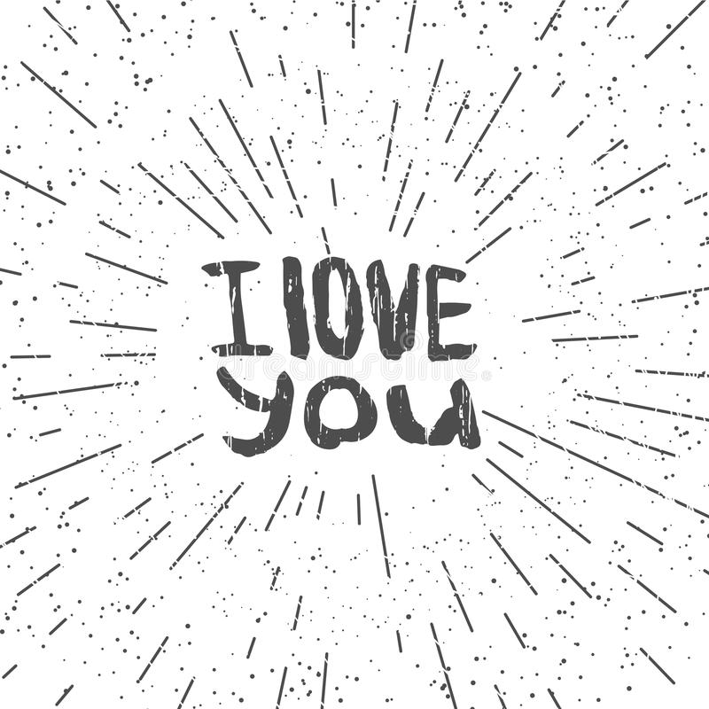 Download Hand Drawn Typography Poster With I Love You Love Word With Texture In Grunge