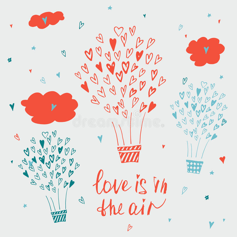 Hand drawn typography poster. Love is in the air royalty free illustration
