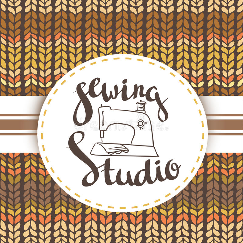 Hand drawn typography poster with sewing machine and stylish lettering Sewing studio. For sewing studio logo,T-shirts design or posters vector illustration