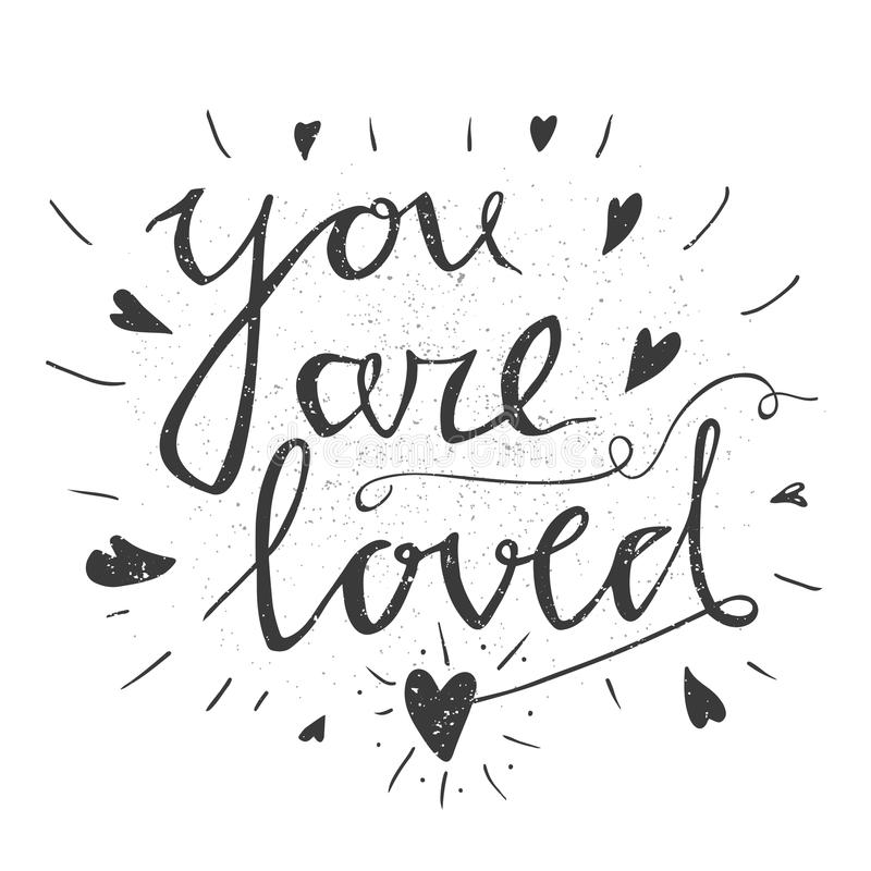 Hand drawn typography poster. Stylish typographic poster design with inscription all you neen is love. Inspirational illustration. Used for greeting cards vector illustration