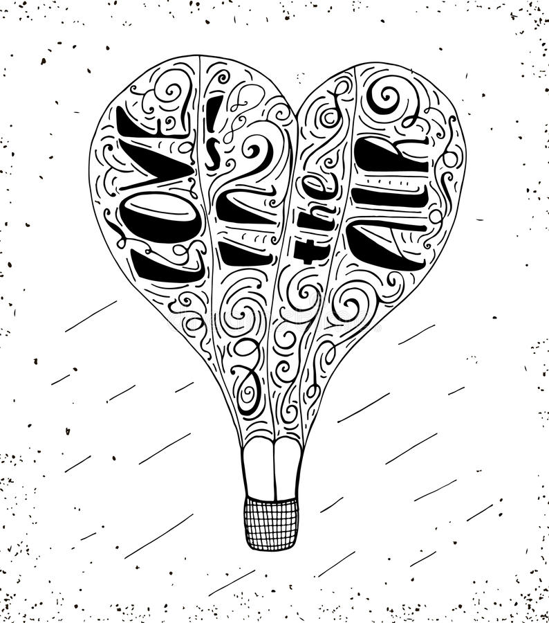 Hand drawn typography print with hot air balloon and hand lettering - Love is in the Air. vector illustration