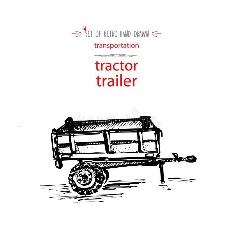 Hand-drawn uitstekende aanhangwagen van de vervoertractor Snelle inktschets Vector zwarte die illustratie op witte achtergrond wo royalty-vrije illustratie