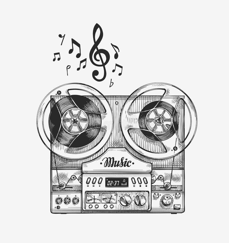 Hand-drawn uitstekende spoel aan bandrecorder Schetsmuziek Vector illustratie vector illustratie