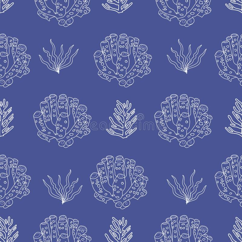 Hand drawn under water coral and plants silhouettes. royalty free illustration