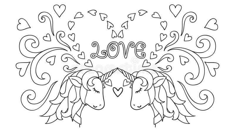 Hand drawn Unicorn. Magical animal. Vector artwork. Black and white. Coloring book pages for adults and kids. Happy Valentines day stock illustration