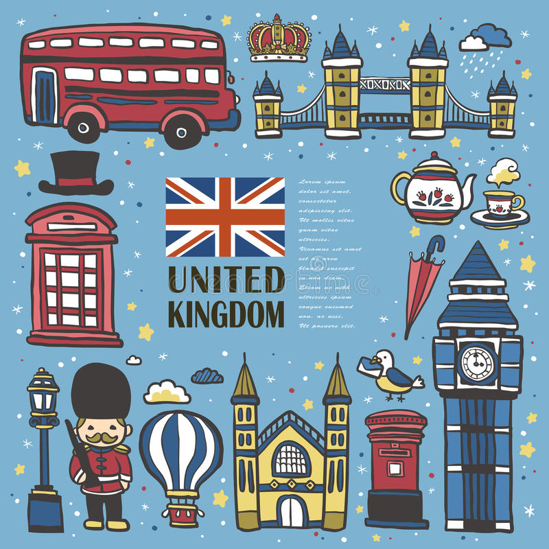 Hand drawn United Kingdom travel impression royalty free illustration