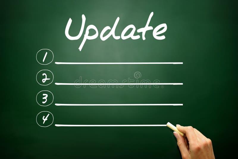 Hand drawn Update blank list concept on blackboard stock photos