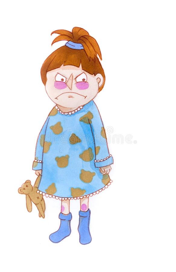 Hand drawn upset angry child holding a teddy bear, girl in pajamas and blue socks stock illustration