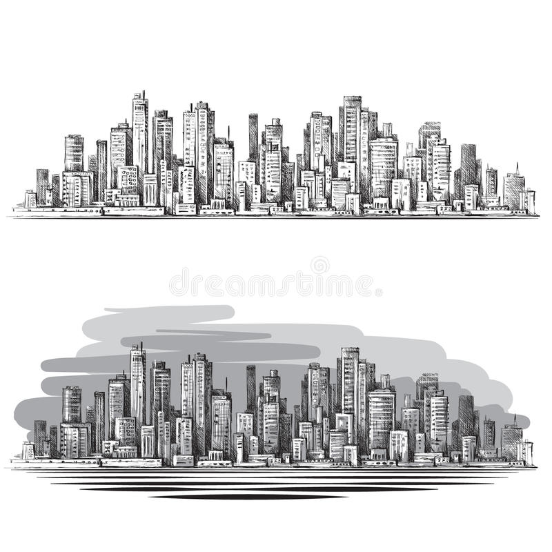Hand drawn Urban scene. Cityscape vector illustration