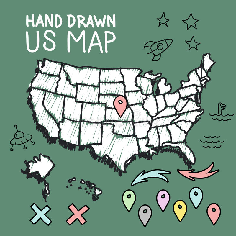 Hand drawn US map on chalkboard royalty free illustration