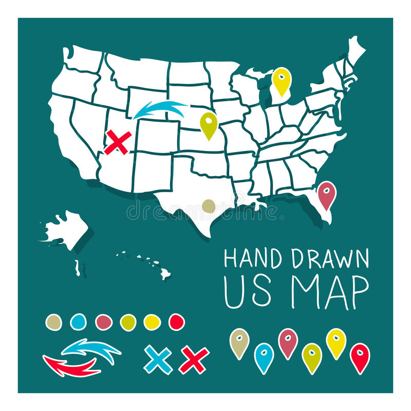 Hand drawn US map with pins royalty free illustration