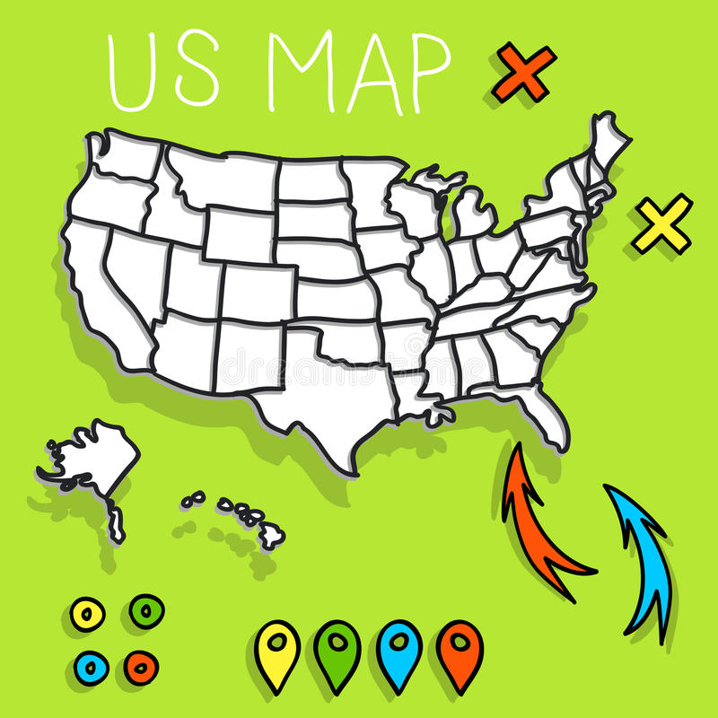 Hand drawn US map with pins stock illustration