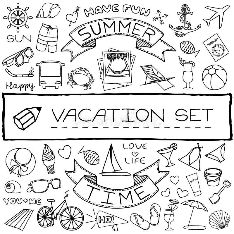 Hand drawn vacation icons set vector illustration