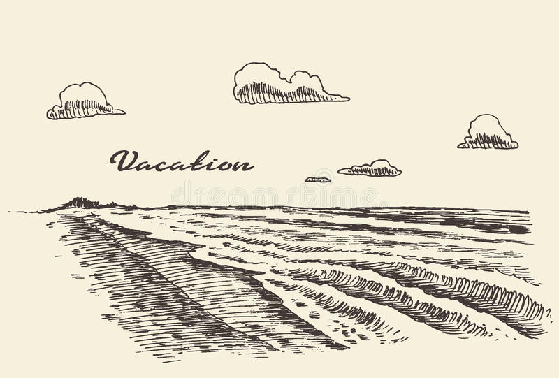 Hand drawn vacation poster seaside beach sketch royalty free illustration