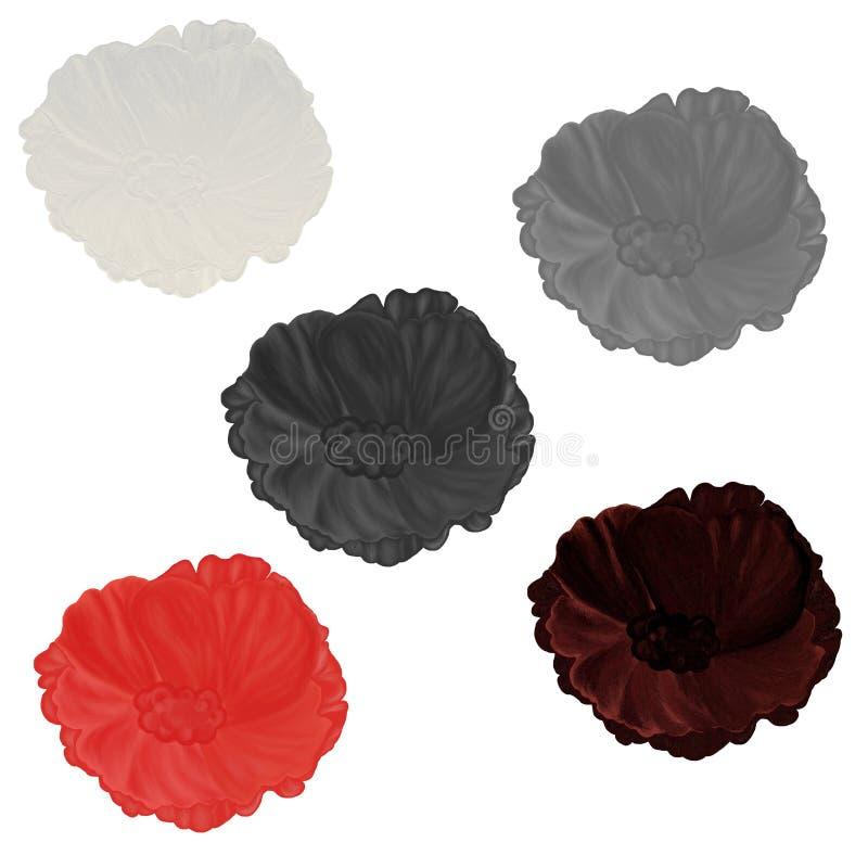 Hand drawn varicolored samples of flower