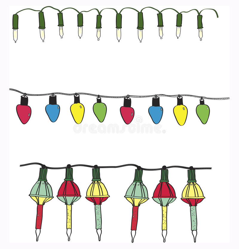Download Hand Drawn Variety Electric Christmas Light Strings Vector Set Stock