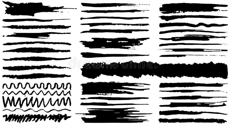 Hand drawn various shapes brush strokes. Creative black thin paintbrush lines, isolated on white background. Collection of vector hand drawn various shapes royalty free illustration