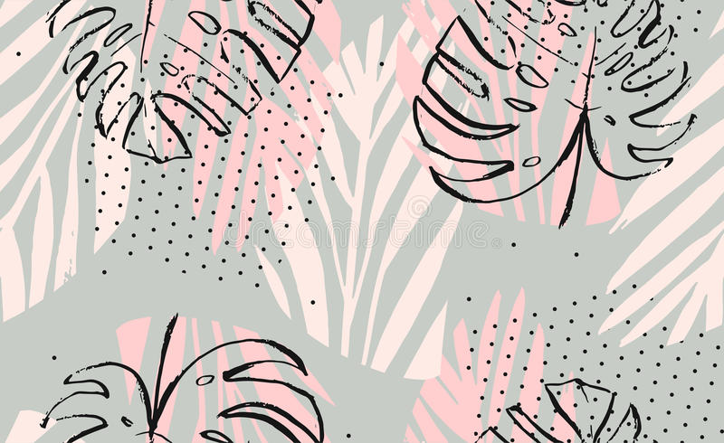 Hand drawn vector abstract artistic freehand textured tropical palm leaves seamless pattern in pastel colors with polka vector illustration