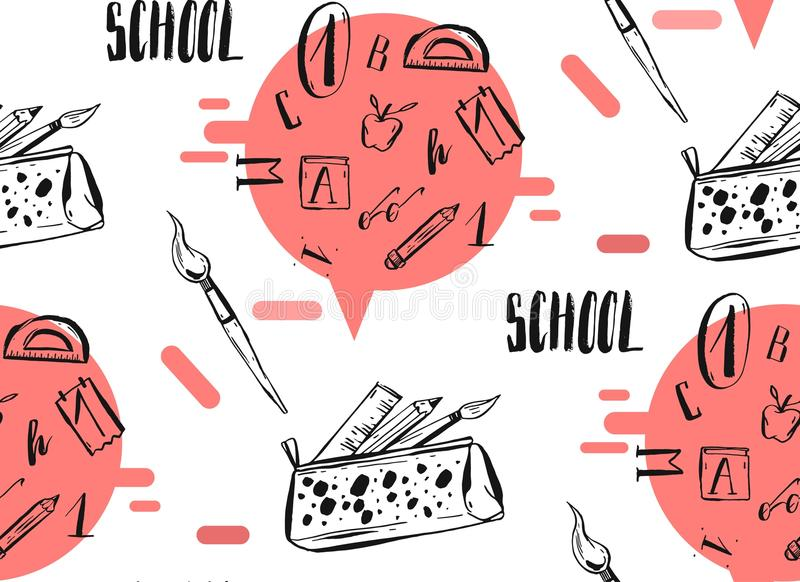 Hand drawn vector abstract back to school seamless pattern. With handwritten school phase and pencil case with school supplies on white background vector illustration
